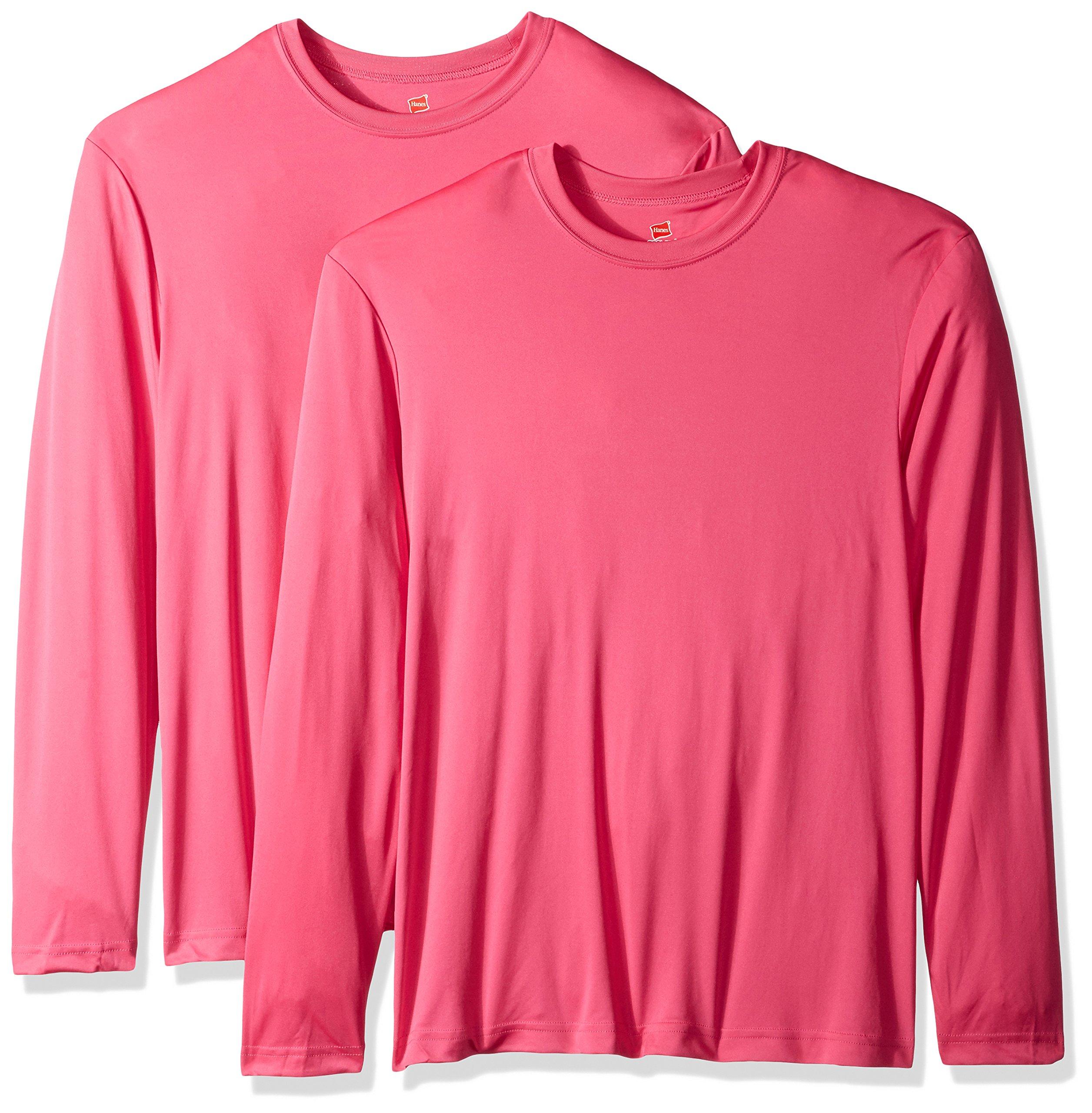 Hanes Men's Long Sleeve Cool DRI T-Shirt UPF 50+ (Pack of 2), Wow Pink, 3XL