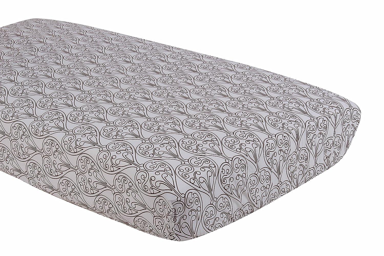 Bacati Damask White and Chocolate Crib Fitted Sheet by Bacati   B0089DA938