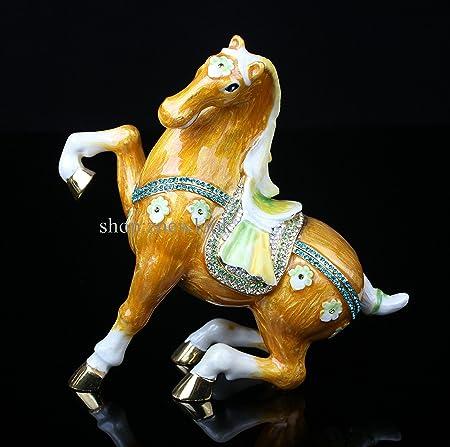 Horse. Pewter Trinket Box Pretty Horse Trinket Box Keepsake Collectible Bejeweled 8.5*4.3*9CM L*W*H