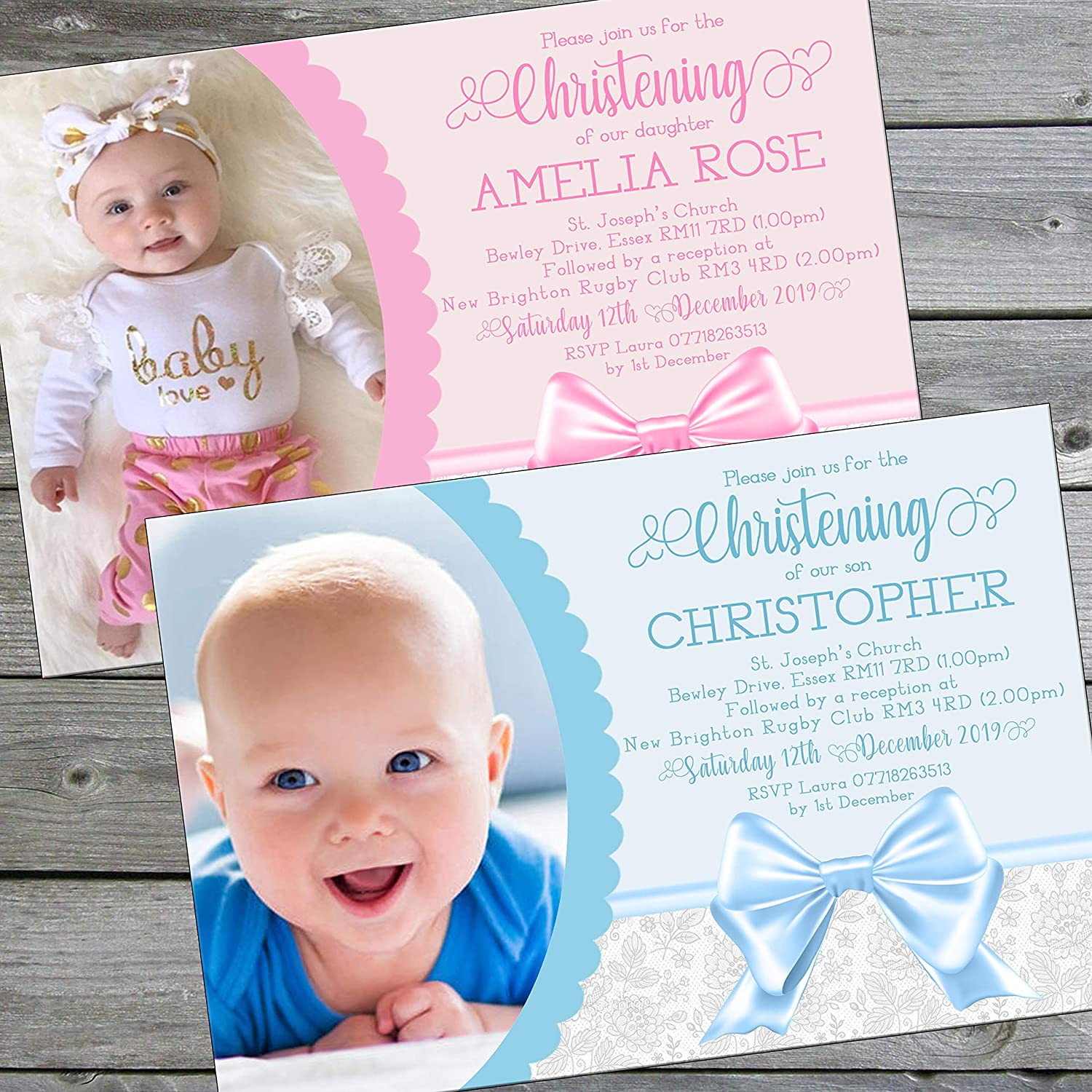 Christening Baptism Invitations Envelopes Boy Or Girl Invites Photo Various Designs Personalised Click Customize For Prices