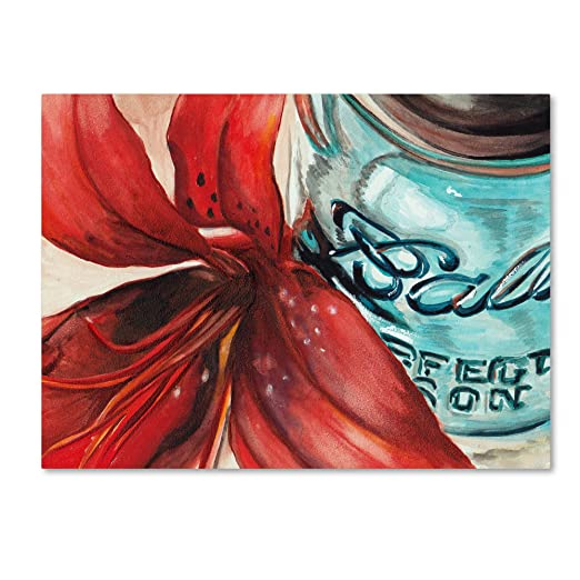 Ball Jar Red Lily by Jennifer Redstreake, 35x47-Inch Canvas Wall Art