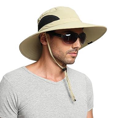 6a0b7aeec8f177 EINSKEY Wide Brim Sun Hat Summer UV Protection Beach Hat Showerproof Safari  Boonie Hat Foldable Fishing