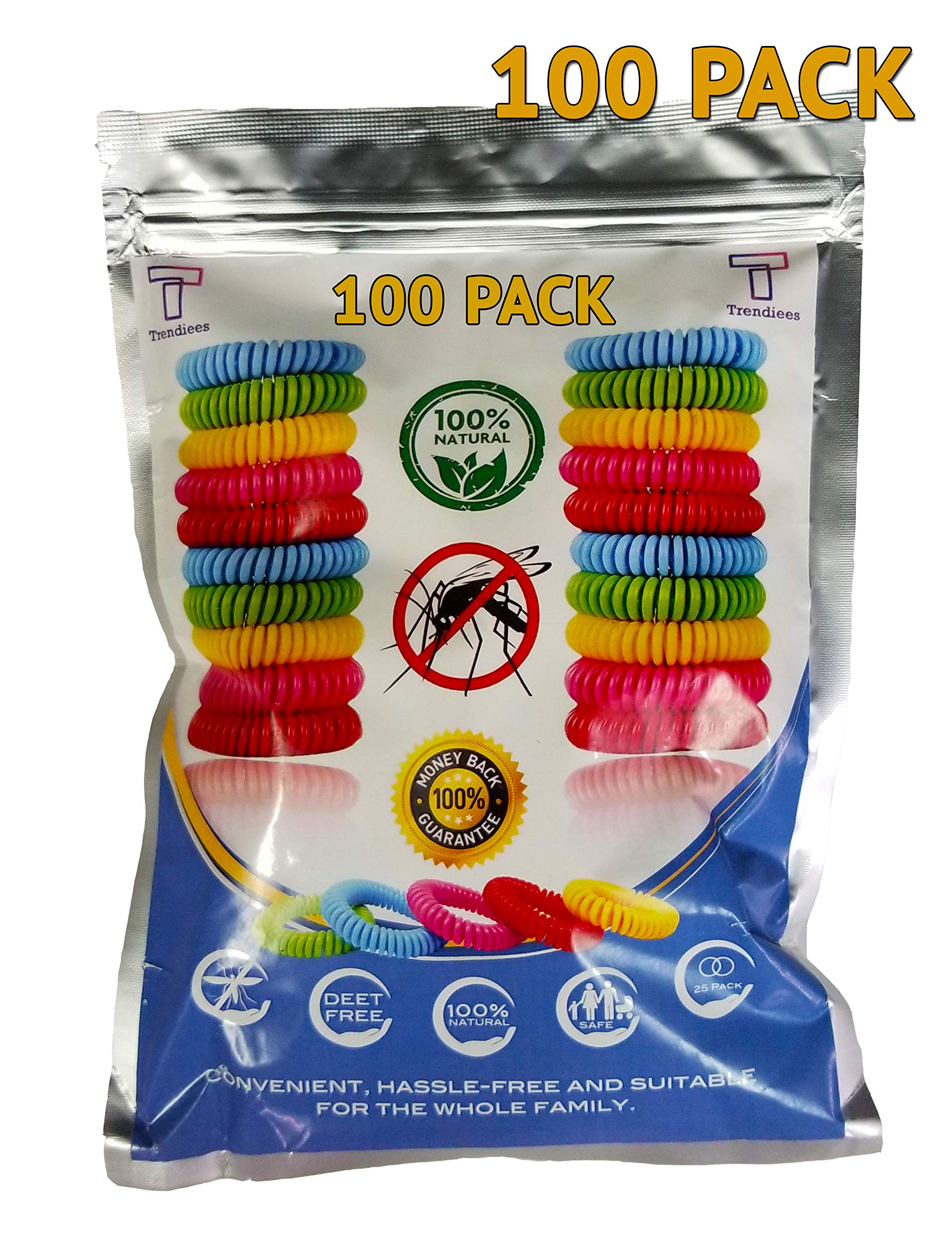 Mosquito Repellent Bracelet Bug Bands for Kids, Adults & Pets - Easy & Comfortable Citronella Anti Pest Protection - No More Bug Spray! + 6 Free Repellent Patches, Waterproof, 100% Natural (100 Pack) by Bierstick
