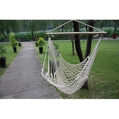 BestValueDeals White Cotton Rope Swing Hammock Cradle Outdoor Garden Patio Yard Porch Chair with Wood Stretcher : Garden & Outdoor