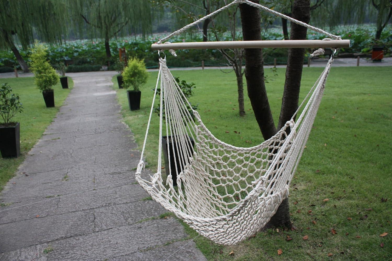 amazon com white cotton swing hammock cradle outdoor garden