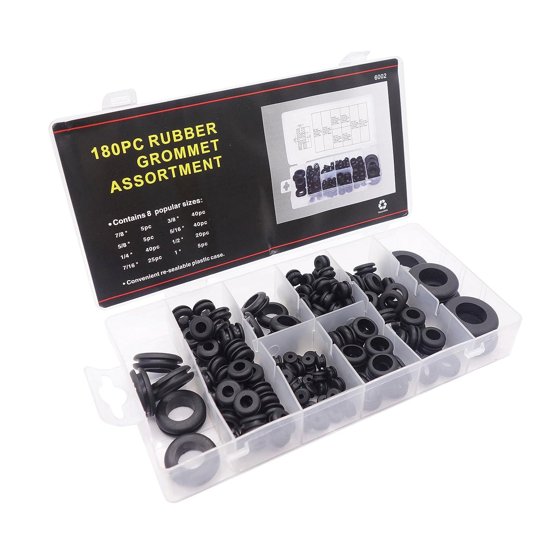 180 Stü ck Gummi Sortiment Kit von Gummi Kabeldurchfü hrung Gummi Elektro Leiter-Set Ringe-Dichtung fü r Kabel, Stecker und Kabel Jajadeal
