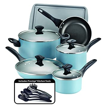 Amazon.com: Farberware 15 Piece Dishwasher Safe Nonstick Cookware ...
