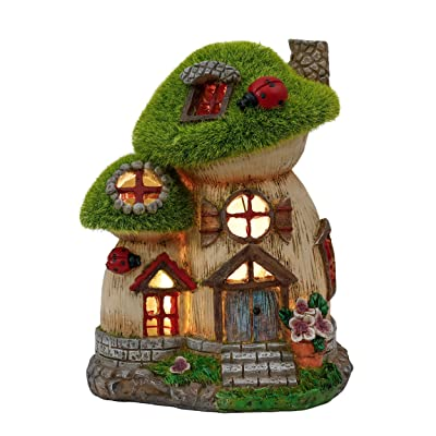 TERESA'S COLLECTIONS Flocked Big and Mini Mushroom House Fairy Garden Statue, Outdoor Resin Statues with Solar Lights, Garden Cottage Figurines for Outdoor Home Yard Decor (8 Inch Tall) : Garden & Outdoor
