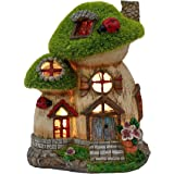 TERESA'S COLLECTIONS Flocked Big and Mini Mushroom Fairy Garden House Statue, Outdoor Fairy House with Solar Powered…