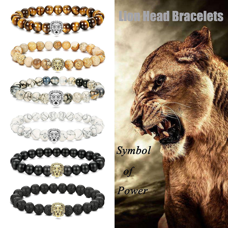 LOLIAS 6 Pcs Mens Lion Bracelet Natural Stone Bead Healing Link Bracelet Adjustable L-SDL-SZT-T