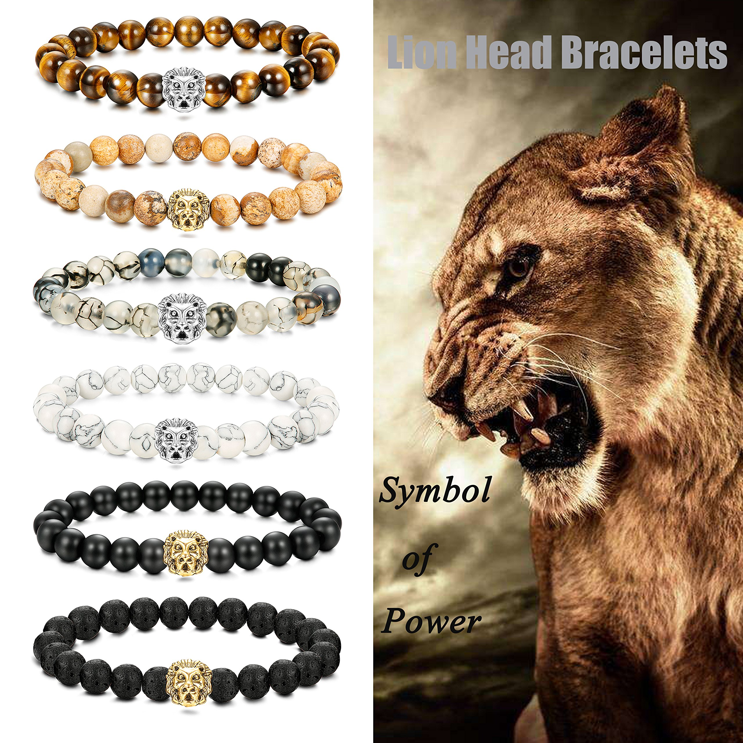 LOLIAS 6 Pcs Mens Lion Bracelet Natural Stone Bead Healing Link Bracelet Adjustable T