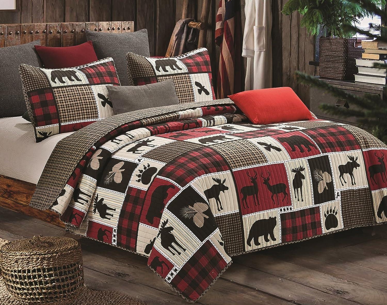 Lodge Life T Fq K Quilt Set Black Bear Deer Moose Cabin