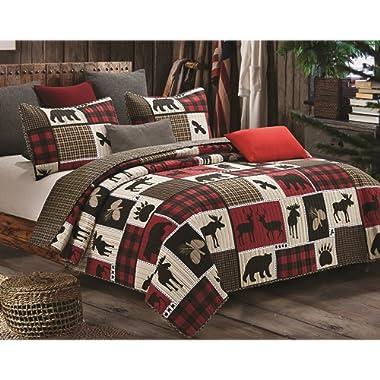 Virah Bella Lodge Life 3pc Full/Queen Quilt Set, Black Bear Paw Moose Cabin Red Buffalo Check Plaid