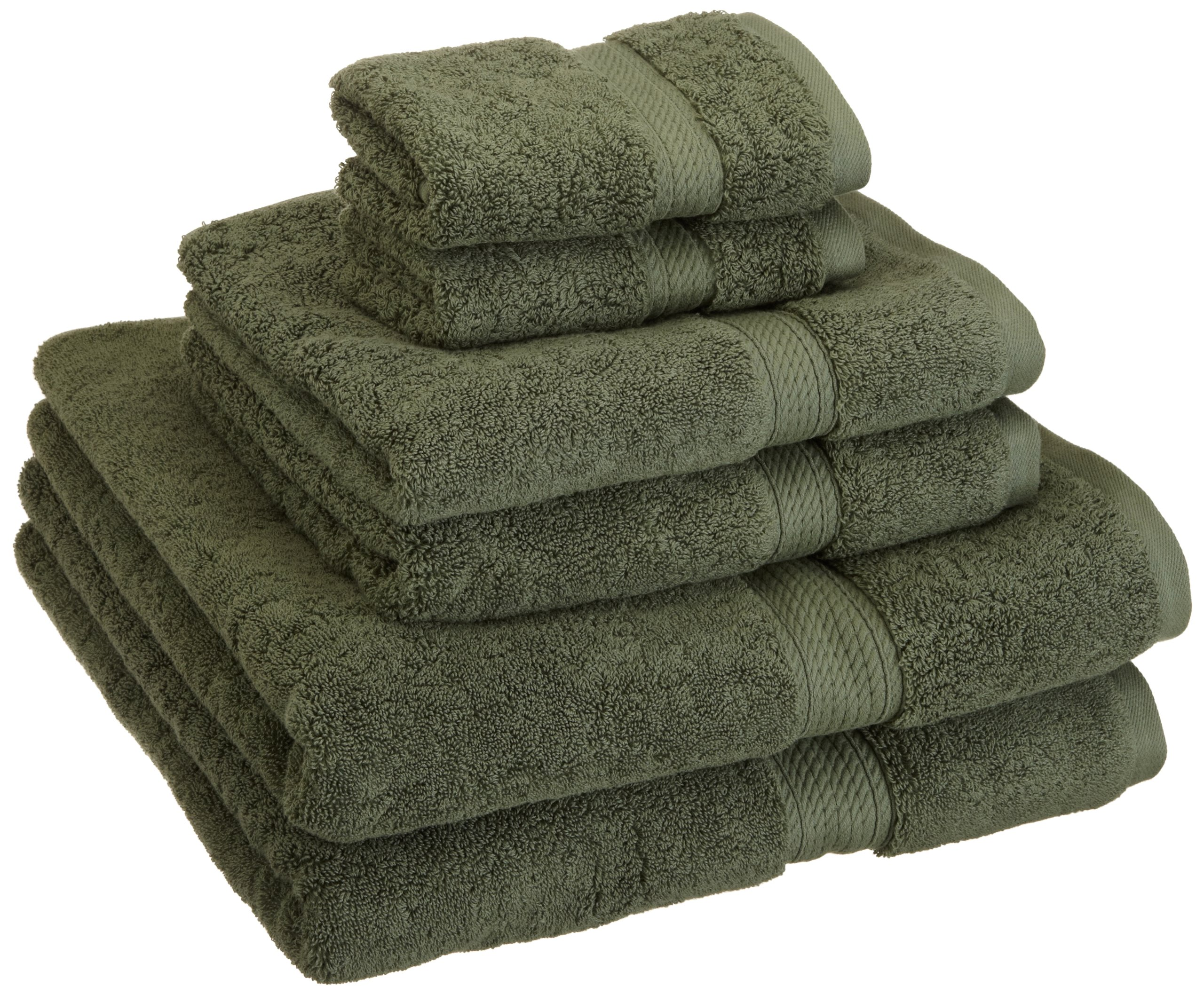 Superior 900 GSM Luxury Bathroom 6-Piece Towel Set, Made of 100% Premium Long-Staple Combed Cotton, 2 Hotel & Spa Quality Washcloths, 2 Hand Towels, and 2 Bath Towels - Forest Green