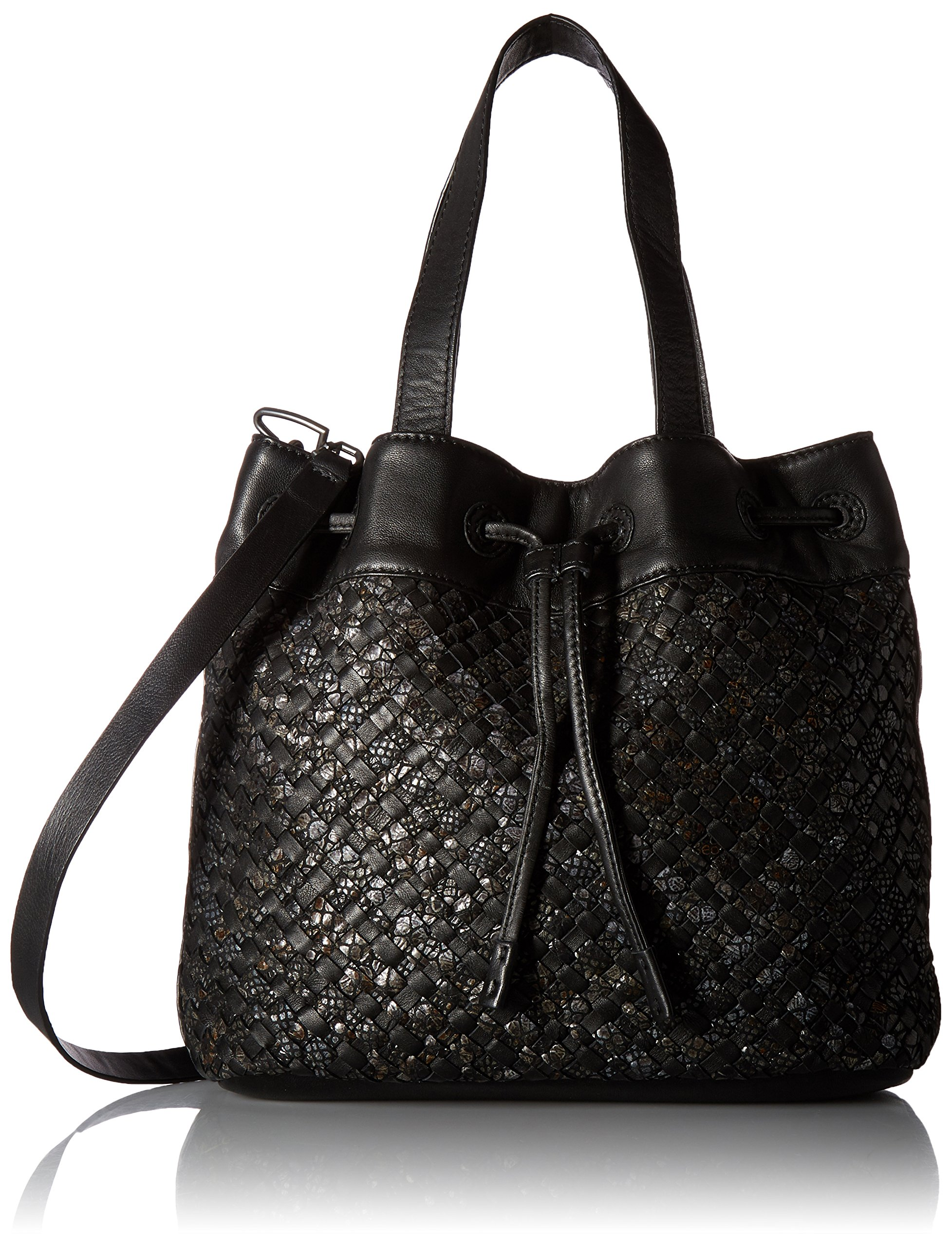 Liebeskind Berlin Women's Topeka Leather Snakeskin Handwoven Bucket Bag, Oil Black