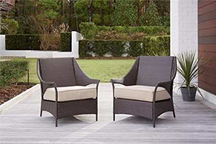 Exceptionnel COSCO 88691BTBE Outdoor Living Lakewood Isle Deep Seating Patio Lounge  Chairs, Dark Brown Wicker,
