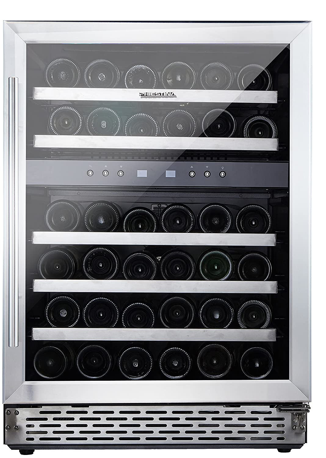 phiestina Phiestina 24'' Built-in or Free-standing 46 Bottle Wine Cooler Refrigerator. Pro Stainless Steel Frame & Door, Handle. Sliding Racks. Compressor Cooling with Press Button Temperature Setting