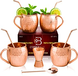 Moscow Mule Copper Mugs - Set of 4 - 100% HANDCRAFTED Pure Solid Copper Mugs - 16 Oz Gift Set with Highest Quality Cocktail Copper Straws, Copper Stirrer & Copper Jigger by Copper-Bar