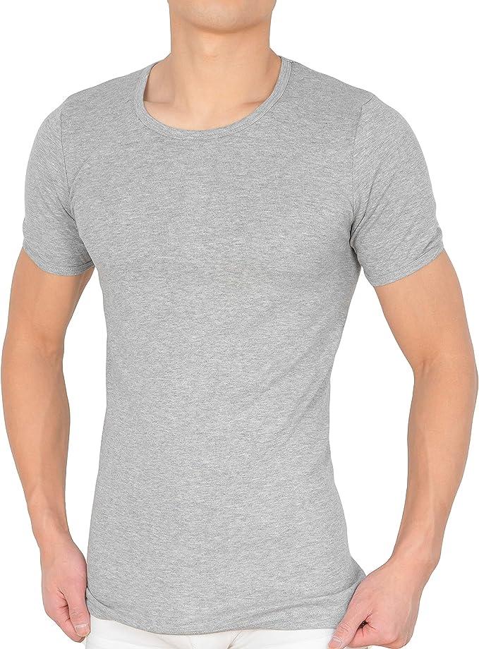 Camiseta interior para hombre (4 unidades) con cuello redondo, camiseta de manga corta de 100% algodón (canalé fino) en blanco, negro y gris: Amazon.es: Ropa y accesorios