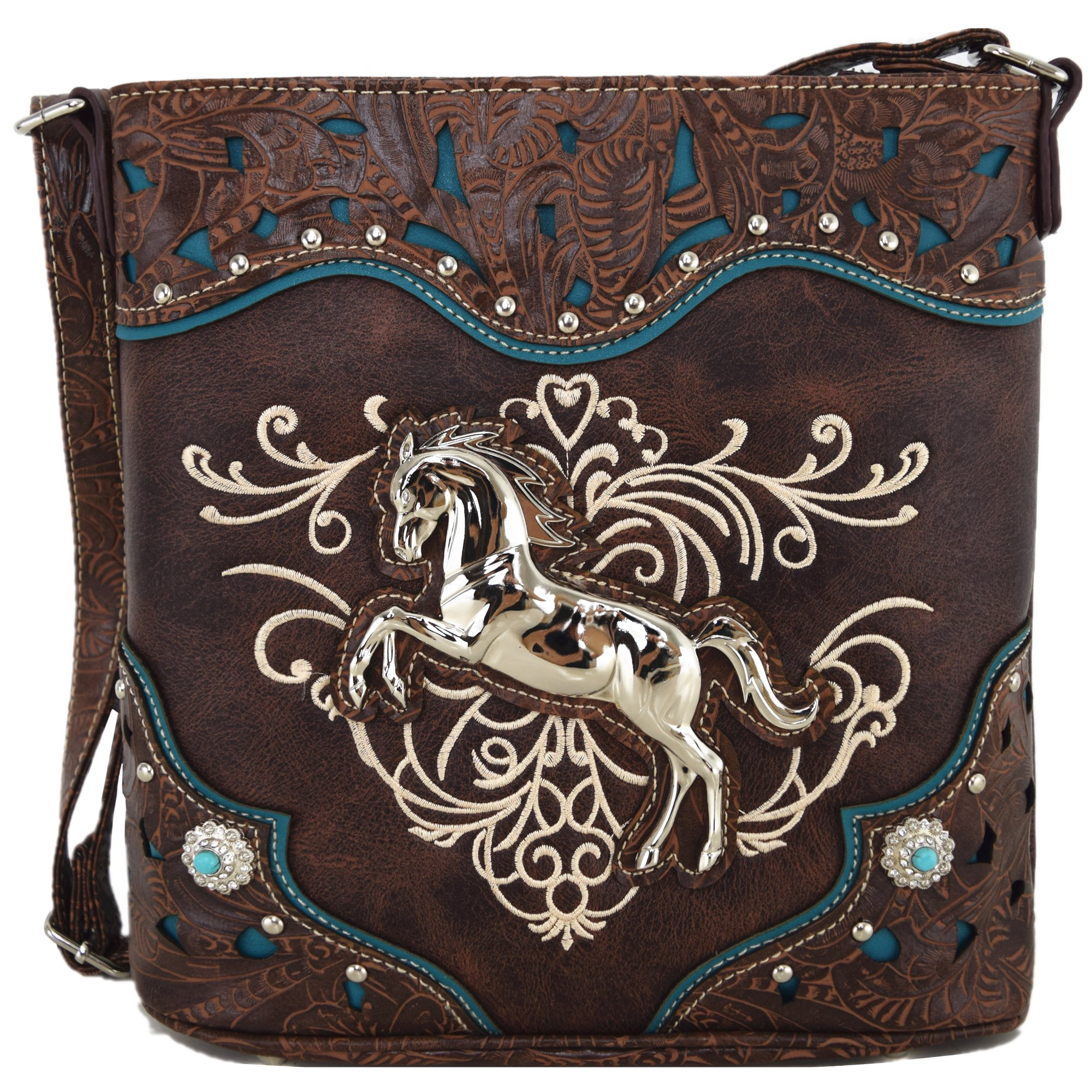 Western Cowgirl Style Horse Cross Body Handbags Concealed Carry Purses Country Women Single Shoulder Bag (Coffee)