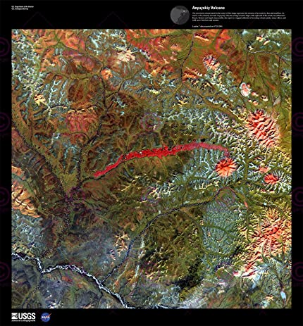 Amazoncom SCIENCE MAP SATELLITE ANYUYSKIY VOLCANO LAVA RUSSIA