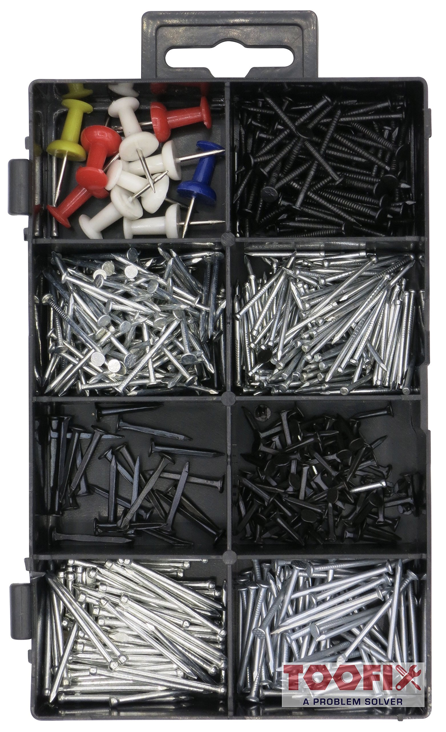 600 Pieces Small Nails and Tacks Assortment Kit, 8 Different Sizes