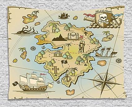 Amazon.com: Ambesonne Island Map Decor Collection, Cartoon Treasure on