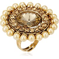 Zaveri Pearls Ring for Women (Golden)(ZPFK7144)