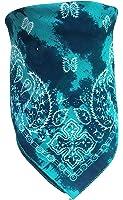 Biker Bandana Scarf Turquoise Batik Paisley