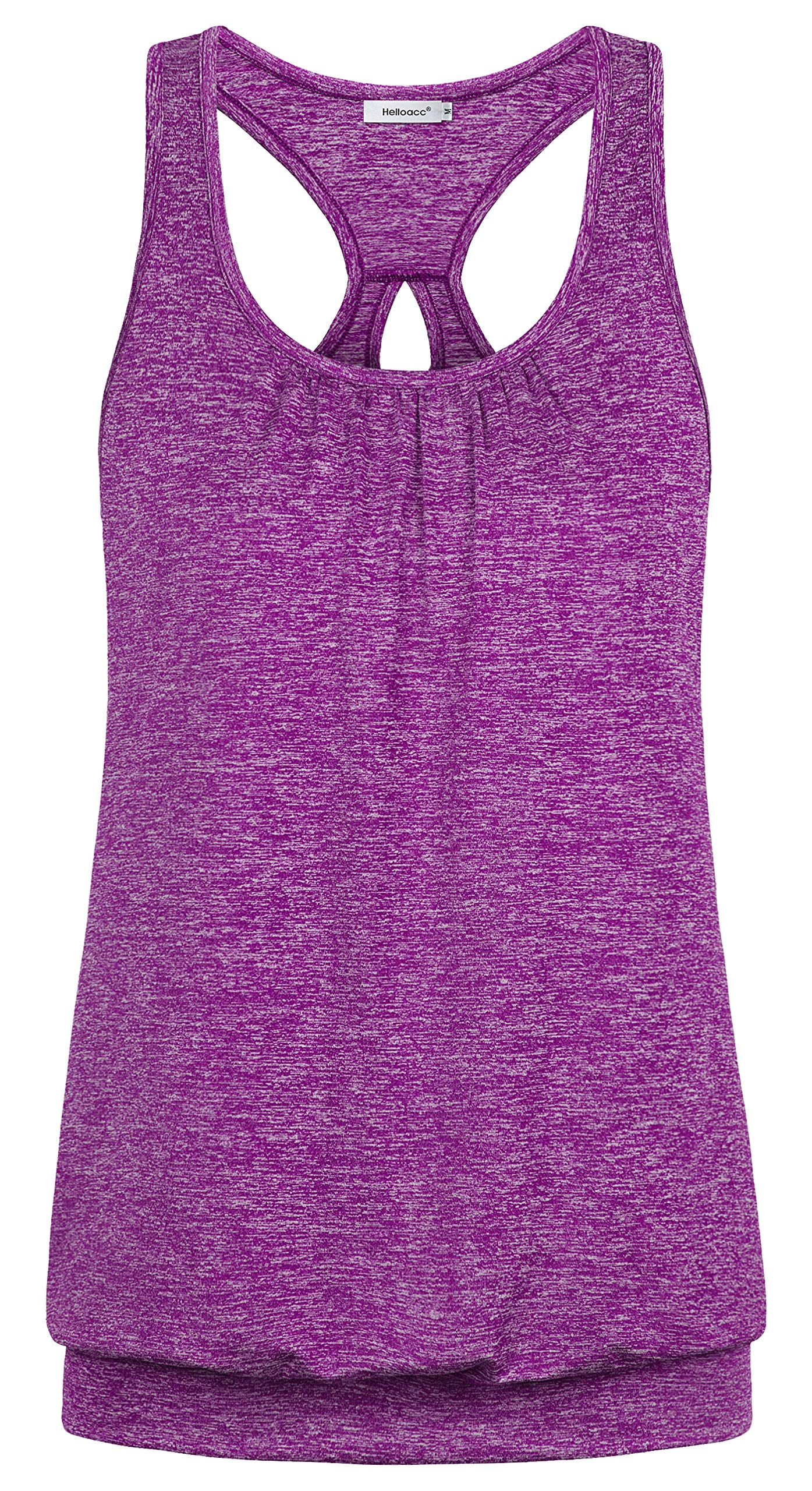 Helloacc Womens Fitness Tank Tops Shirts,Juniors Sleeveless Knitting Shirts and Blouses for Workout Summer Trainning Dressy Tunic Tee Hanky Hem Yoga Tank Tops Chic Stylish Indoor Sports Camis Purple L