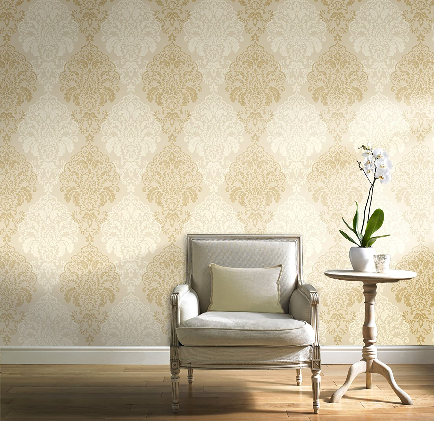 Glitter Damask Quality WallpaperVinyl Finish Gold Amazoncouk