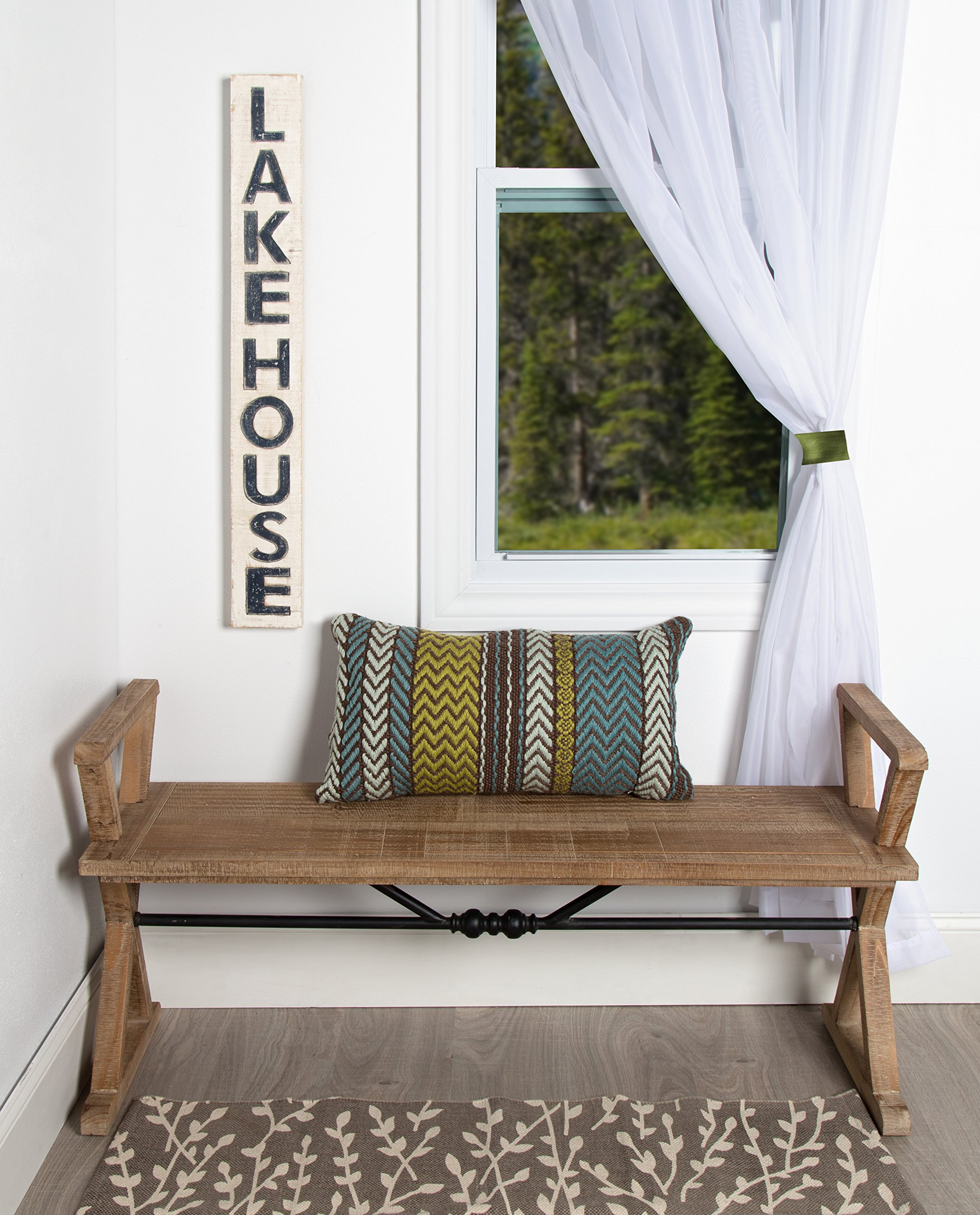 Kate and Laurel Travere Wood Bench, Rustic Finish with Ornate Black Painted Metal Support Bar by Kate and Laurel (Image #6)