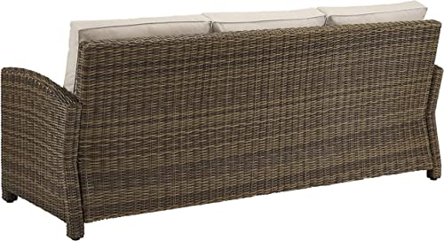 Crosley Furniture KO70049WB-SA Bradenton Outdoor Wicker Sofa, Brown with Sand Cushions