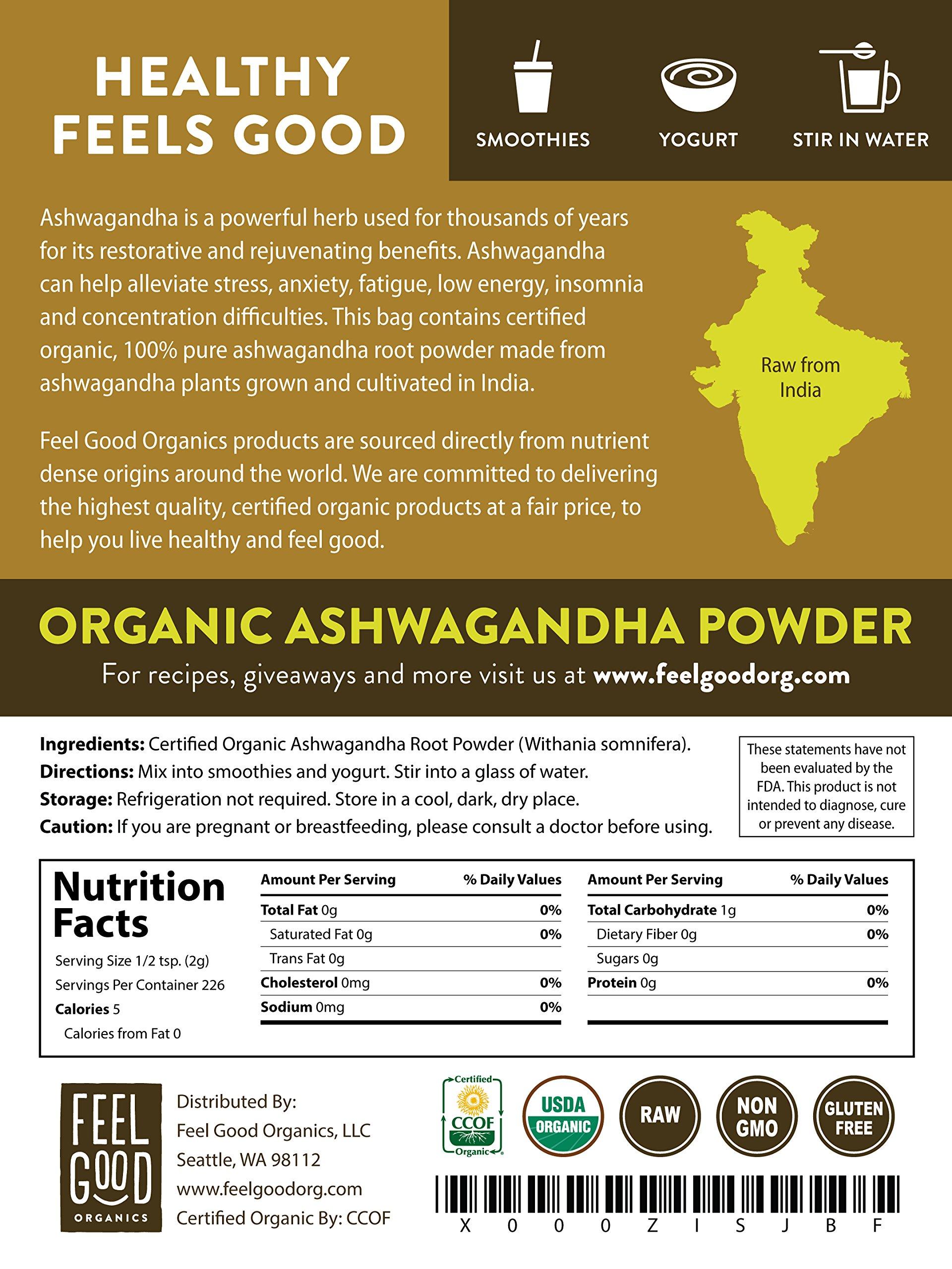 Organic Ashwagandha Root Powder - 16oz Resealable Bag (1lb) - 100% Raw From India - by Feel Good Organics by Feel Good Organics (Image #3)