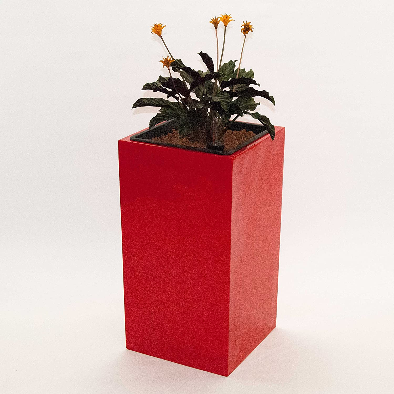 Pflanzkübel Blumenkübel Blumentopf Fiberglas Säule LxBxH 38x38x80cm hochglanz rot