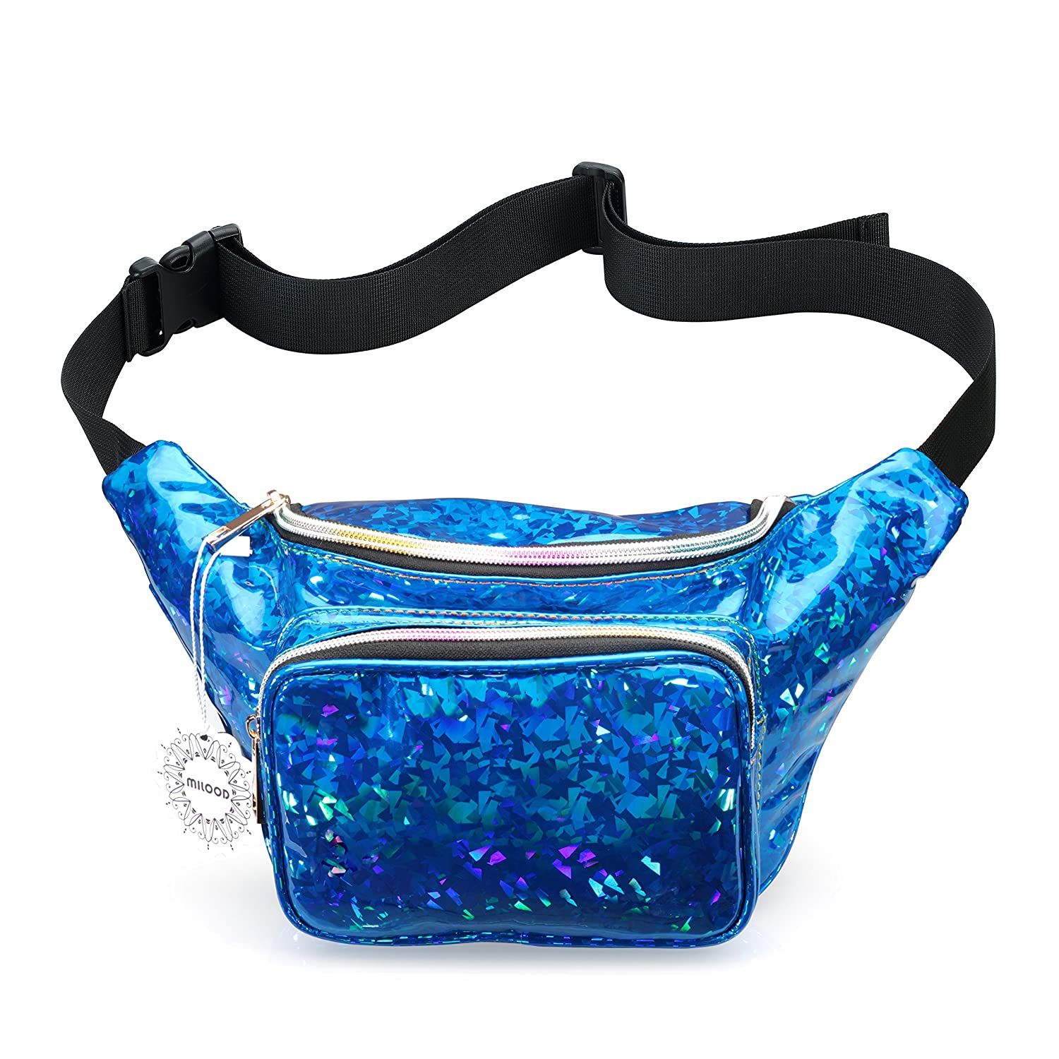 Shiny Neon Fanny Bag for Women Rave Festival Hologram Bum Travel Waist Pack (Black)