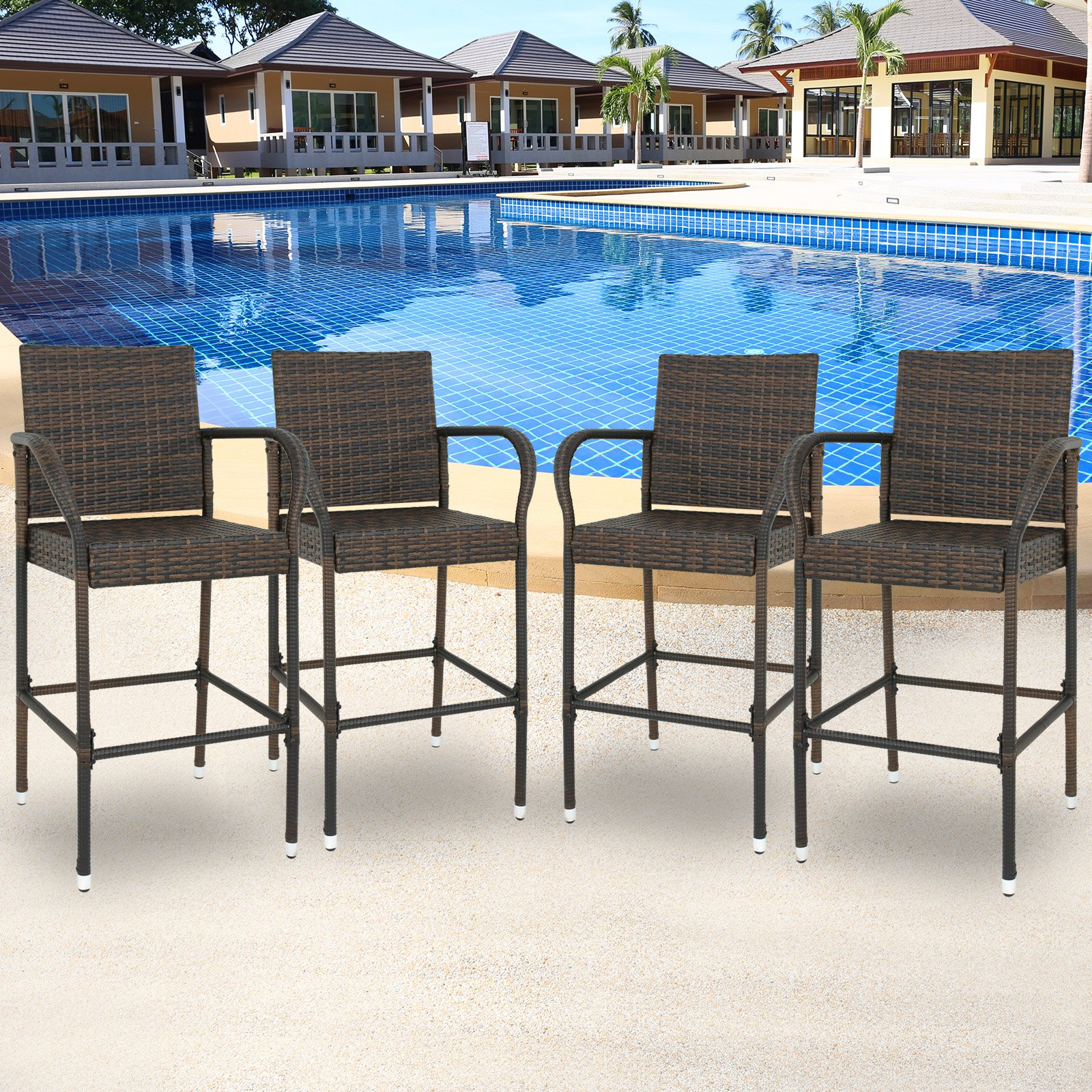 SUPER DEAL Wicker Bar Stool Outdoor Backyard Rattan Chair Patio Furniture Chair w/Iron Frame, Armrest and Footrest, Set of 4 by SUPER DEAL (Image #1)