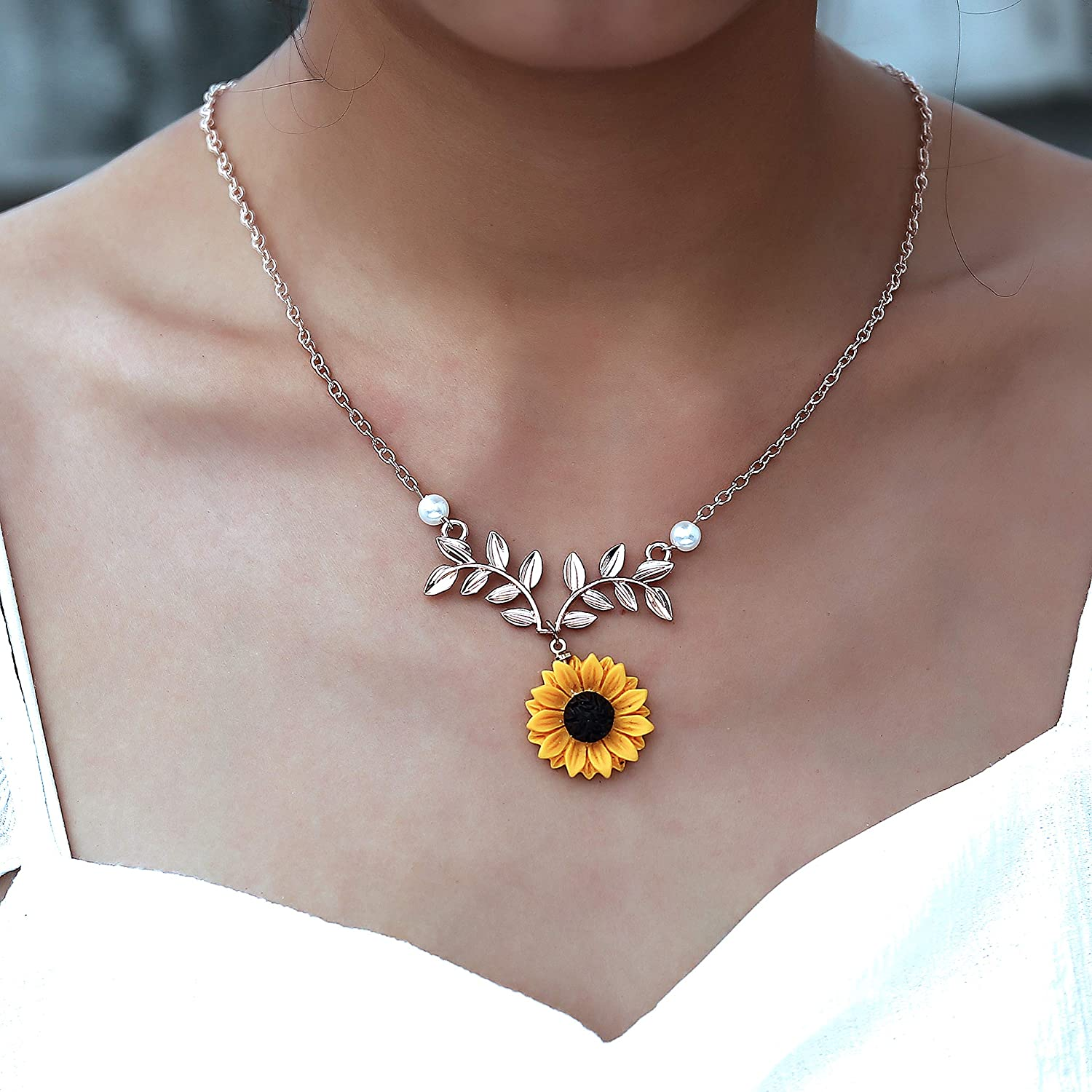 17mile Sunflower Pearl Leaf Chain Resin Boho Handmade Drop Pendant Choker Necklace Plated Gold//Rose Gold//Silver TVYB006-silver