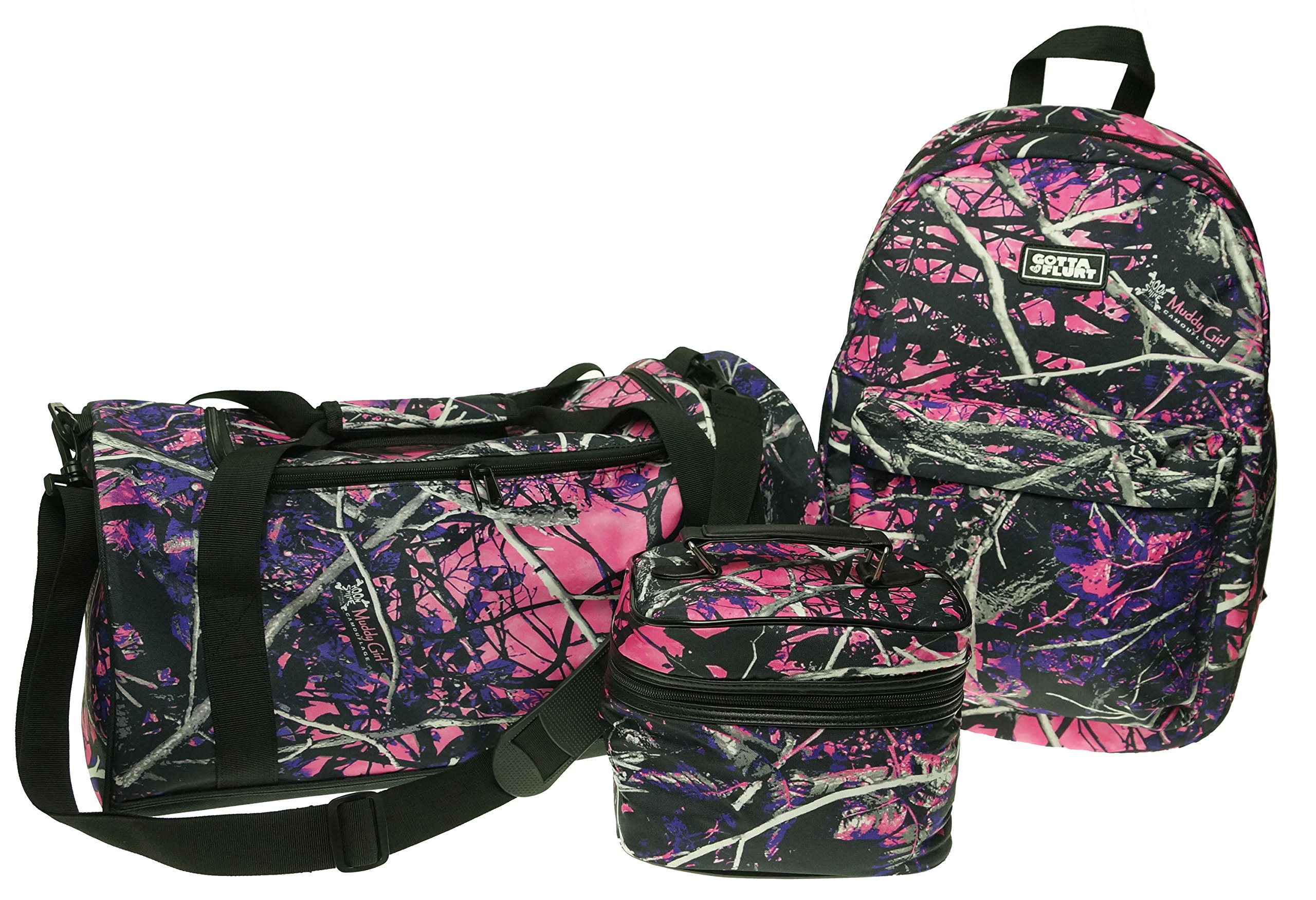 Muddy Girl Pink Backpack Duffel Bag Cosmetic Case 3 Piece Set
