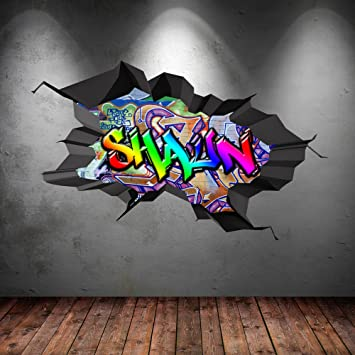 Multi full colour personalized 3d graffiti name cracked wall art stickers decal mural
