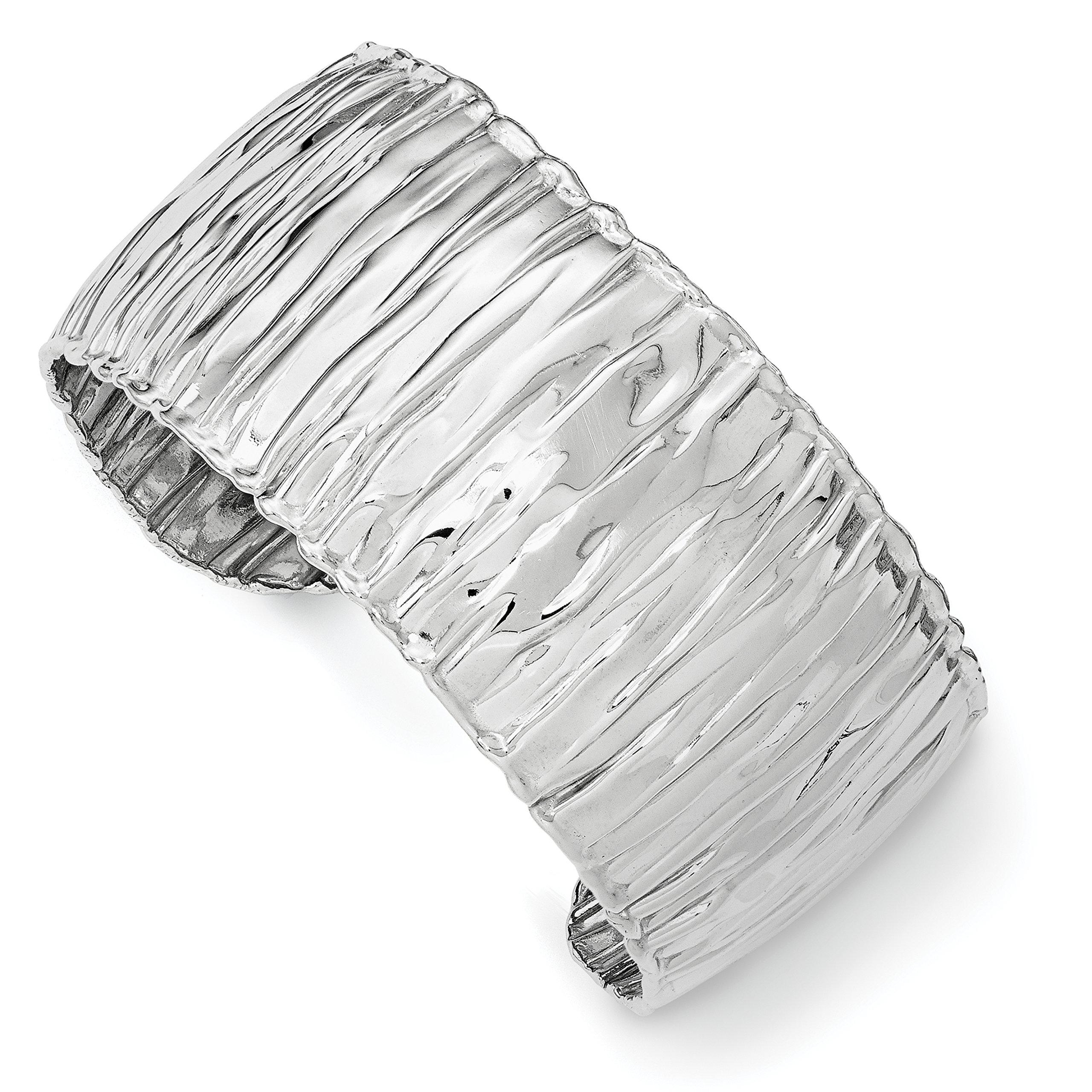 ICE CARATS 925 Sterling Silver Textured Cuff Bangle Bracelet Expandable Stackable Fine Jewelry Gift Set For Women Heart