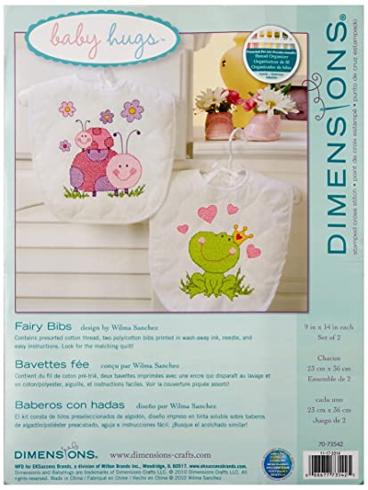 Dimensions Fairy Baby Bibs Stamped Cross Stitch Kit Baby Shower Gift For Girls 9 X 14 2 Ct