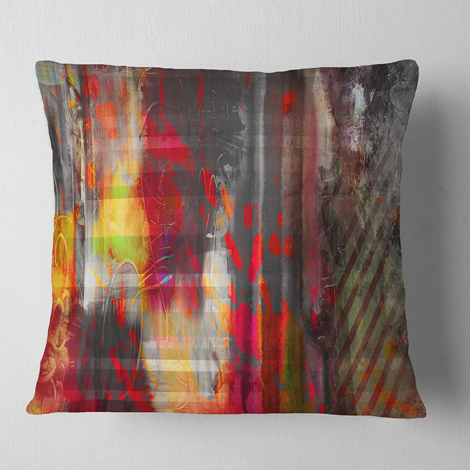 in Insert Printed On Both Side x 18 in Designart CU7447-18-18 Red Decorative Design Abstract Cushion Cover for Living Room Sofa Throw Pillow 18 in