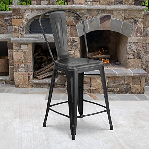 Flash Furniture Commercial Grade 4 Pack 24″ High Distressed Black Metal Indoor-Outdoor Counter Height Stool