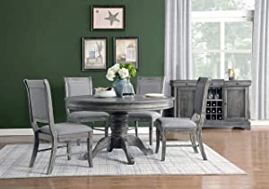 Coaster Home Furnishings Darcy 5-Piece Round Dining Set, Weathered ash and Grey