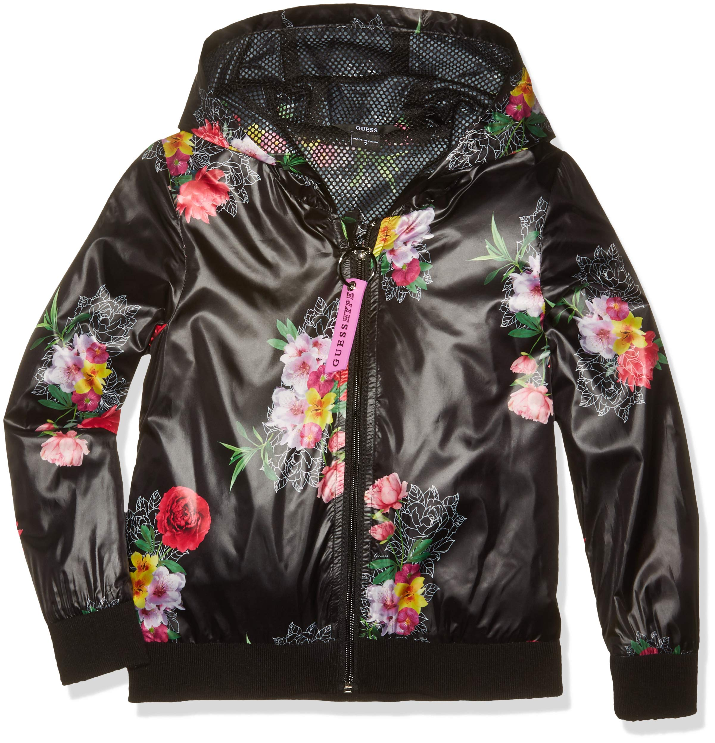 GUESS Girls' Big Floral Logo Graphic Zip UP Hoodie, Roses Boulevard Black 8 by GUESS (Image #1)
