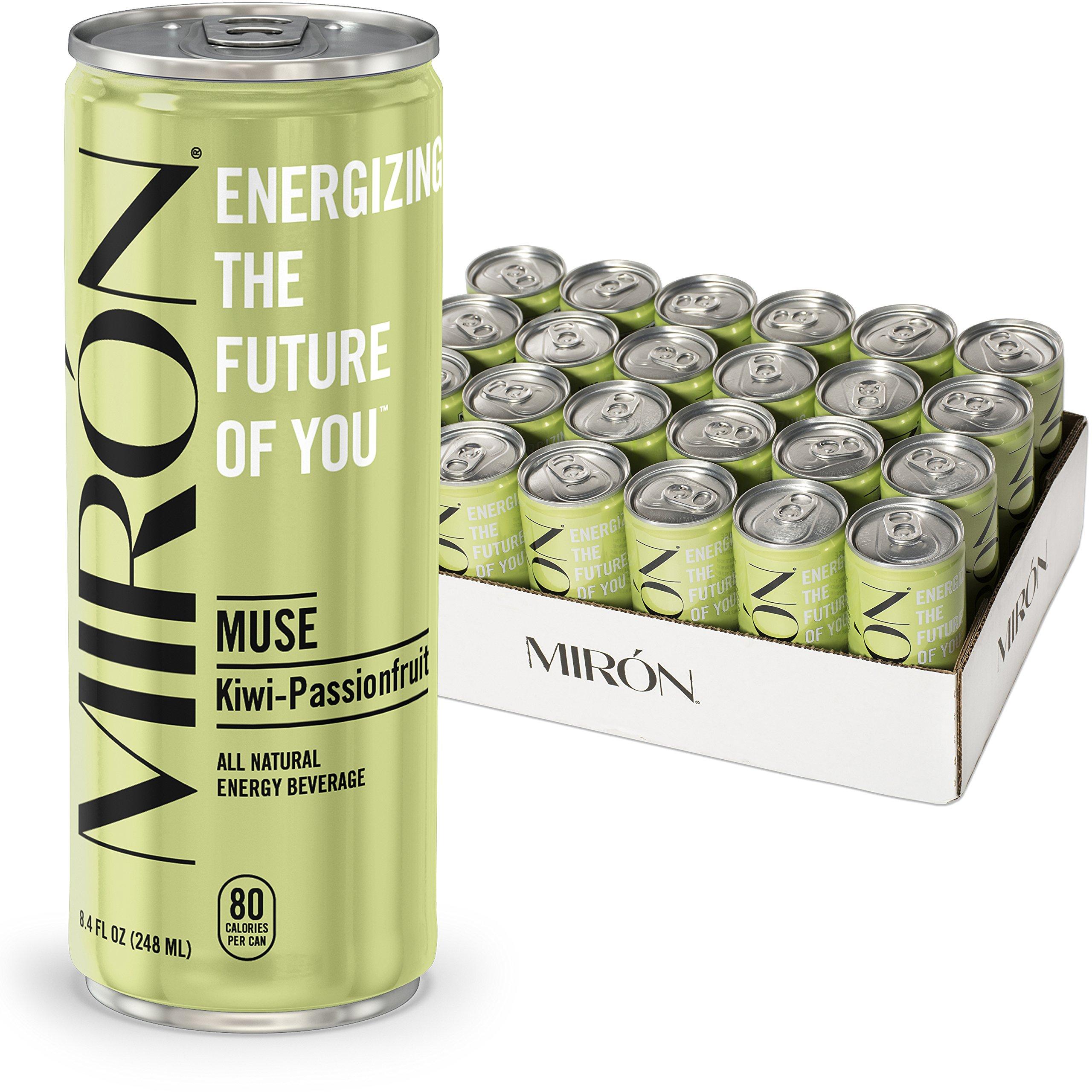 Mirón Kiwi Passionfruit All Natural Sparkling Energy Beverage 8.4 Fl.Oz. Cans (Pack of 24)