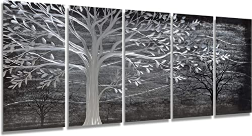 Brilliant Arts Black and White Tree Metal Art Hand-polished Wall Accents Large Aluminium Painting Modern Decor Living Room Artwork