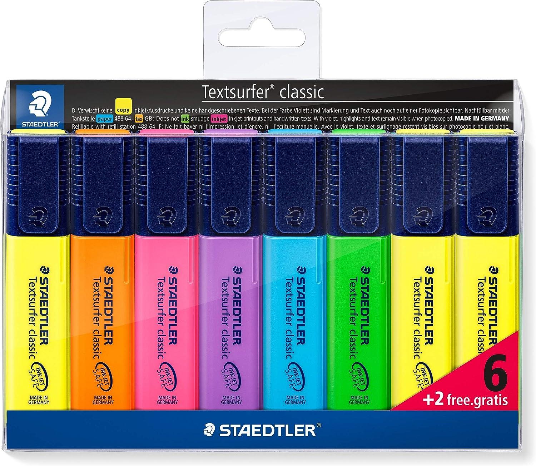 STAEDTLER 364 A WP8 ST, Set de 8 Marcadores Fluorescentes, Multicolor