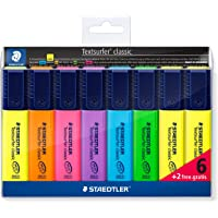STAEDTLER 364 A WP8 Textsurfer Highlighter Bonus Pack, Assorted Colours, Pack of 6 + 2